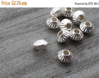 SAVE 20% 10 Pieces Sterling Silver Fluted Hogan Style Spacer Beads 4.4x3x1.2mm Hole MADE In USA