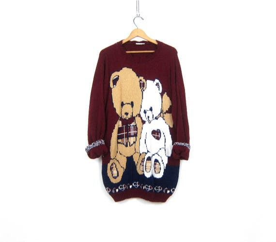 Vintage Long Tunic Sweater Long TEDDY BEARS Knit Jumper 1980s Micro Mini sweater Dress Dark Maroon Sweater Womens Size Large