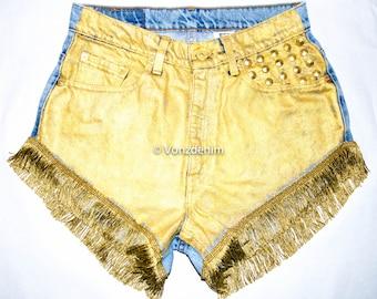Metallic Gold Studded Denim Shorts, High Waisted Denim Shorts, Levi Vintage Denim Shorts,   Shorts, Plus Size Shorts