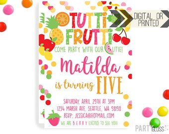 Tutti Frutti Invitation | Digital or Printed | Tutti Frutti Invitation | Fruity Invitation | Tutti Fruity Invite | Fruit Invitation | Fruit