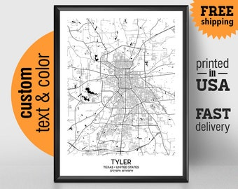 Tyler Texas Map, Tyler City Print, Tyler Poster, Personalized Wedding Map Art Gift For Couple, Custom city map
