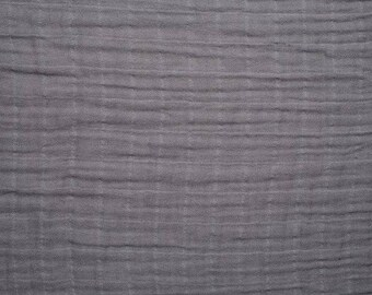 Embrace Double Gauze Fabric in Solid Embrace Graphite -100% Cotton Muslin fabric by the yard