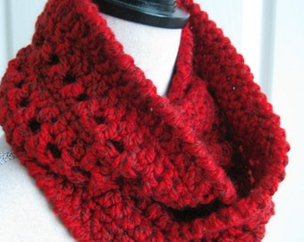 Crocheted Cowl Infinity Scarf-Red - Red Circle Cowl - Red Circle Scarf - Crochet Red Scarf - Crocheted Cowl - Crochet Cowl