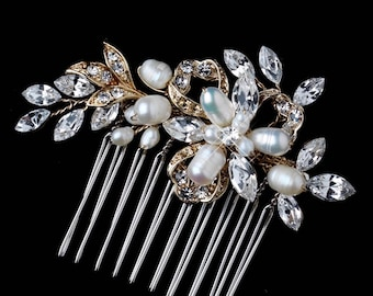 Crystal & Pearl Bridal Hair Comb, Freshwater Pearl,  Wedding Hair Comb, Vintage Style, Bridal Headpiece