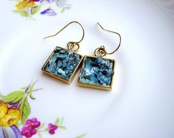 Blue Chip Earrings, Blue Glass Earrings, Geometric, Glassy Bits Earrings, Glass Chips Earrings, Delicate Gold Earrings, Minimalist Earrings