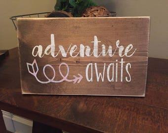 adevnture awaits- travel wood sign