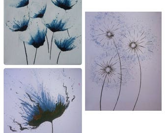 Watercolor canvas paintings