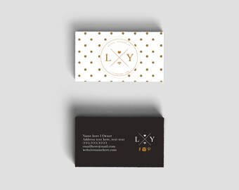 Glitter double sided business card - Instant download
