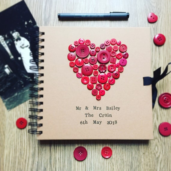 Button Heart Book- perfect Wedding or Engagement Party Guest Book, Scrap Book, Memory Book, Photo Album, Message Book