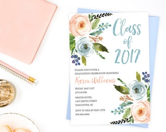Rustic Floral Graduation Invitation, Class of 2017 Invitation, Printable Graduation Party Invite