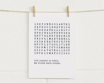 Save the Date Cards 20pk, Wordsearch, Black Foil on White