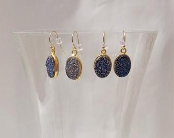 Blue Druzy Gemstone Earrings