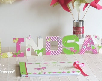 TO order - first name letter horse theme pink lime green fuchsia and ivory 12cm