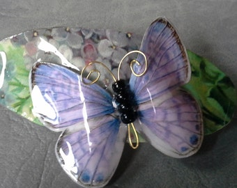 Medium 3 Dimensional Butterfly Barrette, Lavender Butterfly on Lilac Blossoms