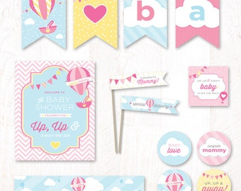 Hot Air Balloon Baby Shower - Instant Download PRINTABLE Party Kit (Pink & Yellow)
