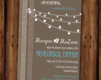 Country Chic Rehearsal Dinner Invitation - Woodland Evening Lights Rehearsal Dinner - Dinner Party - PRINTABLE or Printed Invitations