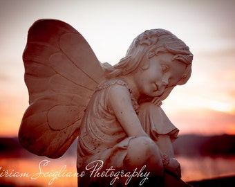 """Garden photography, angel photo,rustic photography, garden fairy, statue photography, 5""""x7"""", sunset photography print, country photography"""