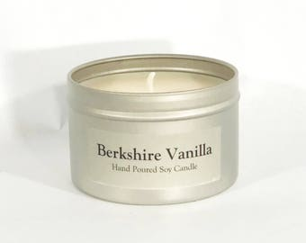 Vanilla Scented Soy Candle 8 oz--French Vanilla--Fresh Vanilla--Anytime Gift--Berkshire Gift--Wedding Gift