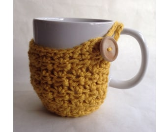 Textured Mug Cozy With Wood Button