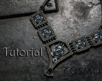 Tutorial for beadwoven necklace 'Cosmo' - PDF beading pattern - DIY