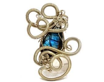 Blue Labradorite Pendant, Victorian Pendant, Wire Wrap Pendant, Silver Pendant, Gothic Pendant, Gemstone Pendant, Labradorite Necklace