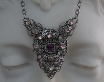 Antique - FABULOUS - Filigree - Highly Decorative - Amethyst - Necklace - c1900