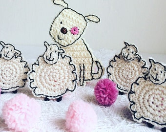 Sheep Crochet Applique - Sheep Craft Embellishment - Sheep Scrapbooking Applique - Sheep Sewing Accessories - Nursery Decor - Lamb Patch