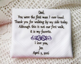 Daughter to Father Gift Embroidered Wedding Handkerchief- Gift to Dad From Bride
