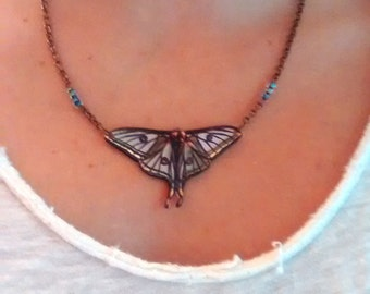 Spanish Luna Moth Necklace on Copper Chain
