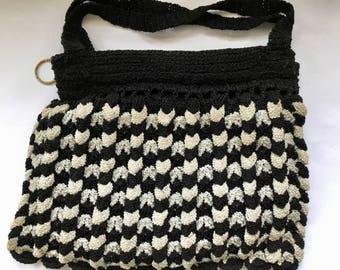 1930's Crochet Purse / Black White Crochet Purse / Vintage Purse