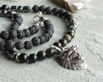 Shadow Obsidian Lava Stone Hematite Beaded Necklace for Men, Sterling Silver Wolf Head Pendant, Men's Jewelry gift for Guys Dad Him, 4621