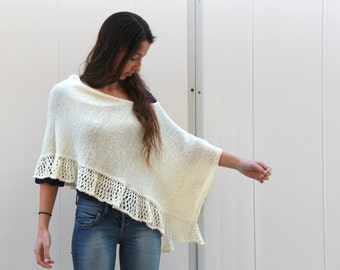 Crochet Poncho Off White Cream  Poncho Knit Lace Shawl Hand Knit Wrap knitted Poncho