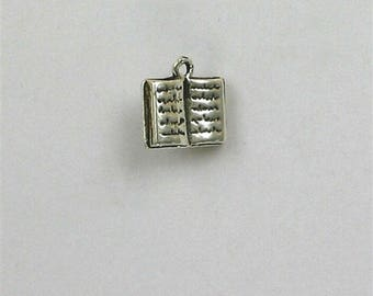 Sterling Silver 3-D Open Book Charm