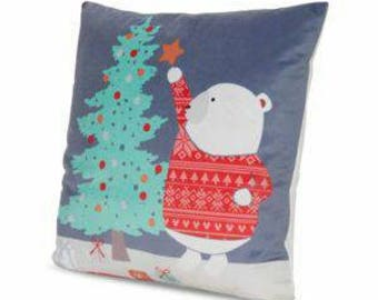 Decorative teddy polar bear cushion cover complete with cushion