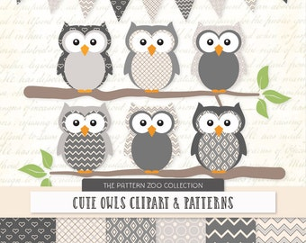 Patterned Grey Owls Clipart and Digital Papers - Grey Owl Clipart, Owl Vectors, Baby Owls, Cute Owls
