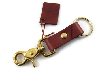 Leather key ring, key ring, key fob, key chain, brass key ring, bordeaux key ring, bordeaux key chain, trigger snap key ring, Easter gift