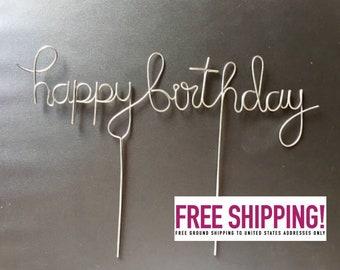 Wire Happy Birthday Cake Topper