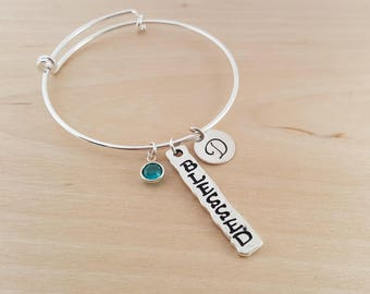 Blessed Bangle - Silver Bangle - Personalized Initial Bracelet - Swarovski Birthstone Jewelry - Gift For Her