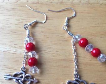 Red coral crystal heart earrings