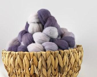 Fiber destash, yarn sale, 300g hand dyed roving, merino roving, hand spinning fiber, felting fiber, handdyed roving - Lilac