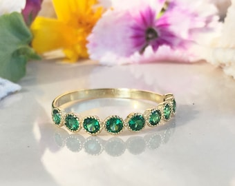 20% off-SALE!! May Birthstone Jewelry - Emerald Ring - Bezel Ring - Stack Ring - Gold Ring - Gemstone Band - Dainty Ring - Simple Jewelry