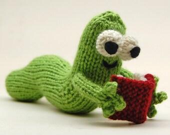 Bookworm Amigurumi Plush Toy Knitting Pattern PDF Digital Download
