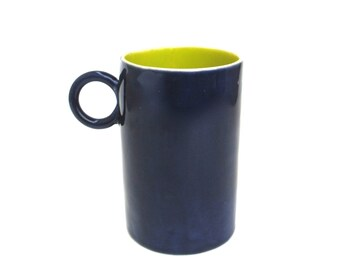 whimsical  hand built porcelain cup  ...   cobalt and chartreuse