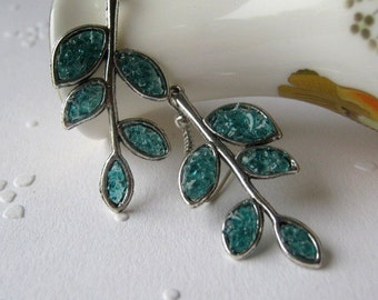 Branch Earrings, Leaf Branch Earrings, Twig Earrings, Stem Earrings, Stained Glass Leaf