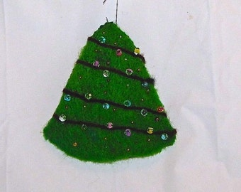 Needle Felted and Beaded Christmas Tree Ornament