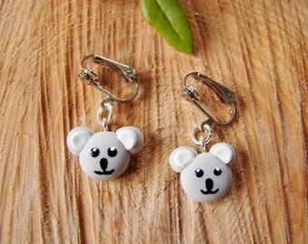 polymer clay Koala Koala kawaii Fimo - small clips clip earrings white gray Koala heads - clip on earrings for girls