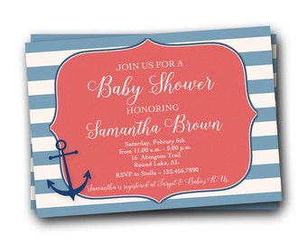 Nautical Baby Shower Invitation - Baby Sprinkle Invitation - Baby Shower Invite - Preppy Shower Invitation