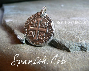SPANISH COIN, Wax Seal Jewelry Cob, Mens Silver Jewelry Pendant,  MENS Jewelry,  Pirates Booty, Nautical Gift,  Jewellery, Beach Lover