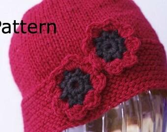 Hat Knitting Pattern, Red Poppy Knit  Hat PDF Pattern, Crocheted Flower, Flower Hat Pattern, Instant Download