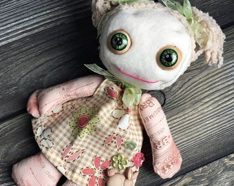 """10"""" cutie pie doll moving eyes custom dress with pig tails feed sack baby by Karen Knapp of Tindle Bears"""